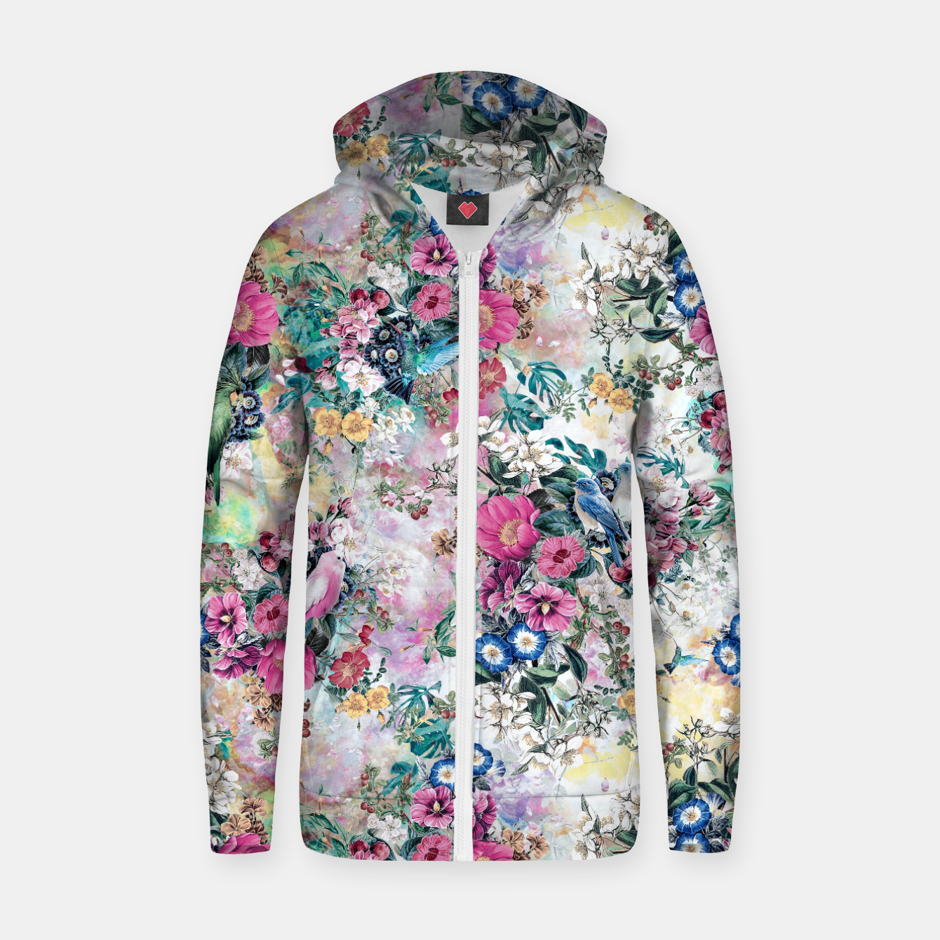 Image of Birds in Flowers Zip up hoodie - Live Heroes