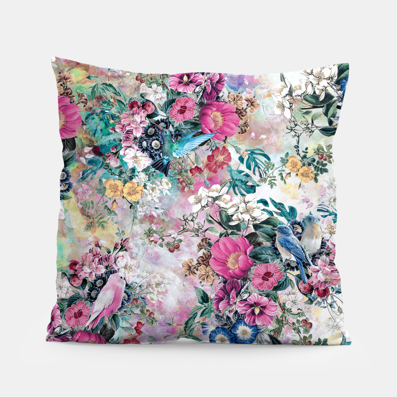 Image of Birds in Flowers Pillow - Live Heroes