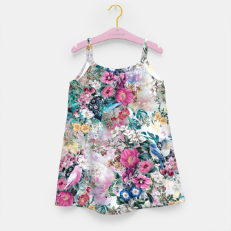 Birds in Flowers Girl's dress Bild der Miniatur