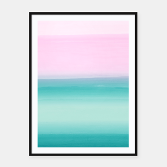 Miniatur Touching Seafoam Teal Pink Watercolor Abstract #1 #painting #decor #art  Plakat mit rahmen, Live Heroes
