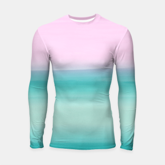 Miniatur Touching Seafoam Teal Pink Watercolor Abstract #1 #painting #decor #art  Longsleeve rashguard, Live Heroes