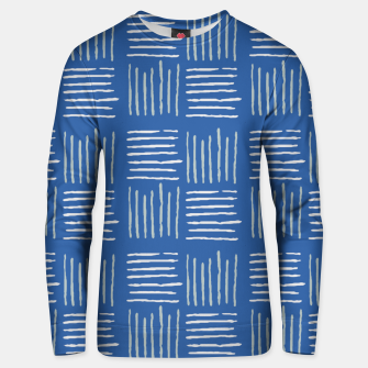 Thumbnail image of Geometrical grey lines pattern on blue Unisex sweater, Live Heroes