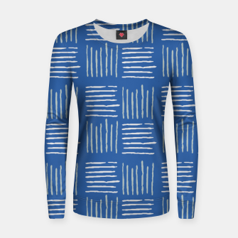 Thumbnail image of Geometrical grey lines pattern on blue Women sweater, Live Heroes