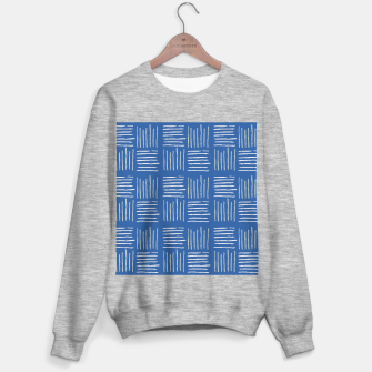 Thumbnail image of Geometrical grey lines pattern on blue Sweater regular, Live Heroes