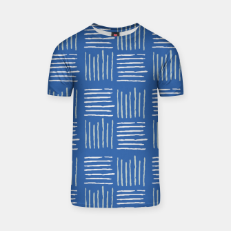 Thumbnail image of Geometrical grey lines pattern on blue T-shirt, Live Heroes