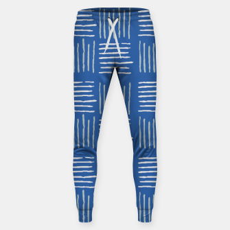 Thumbnail image of Geometrical grey lines pattern on blue Sweatpants, Live Heroes