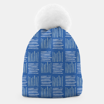 Thumbnail image of Geometrical grey lines pattern on blue Beanie, Live Heroes