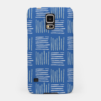 Thumbnail image of Geometrical grey lines pattern on blue Samsung Case, Live Heroes