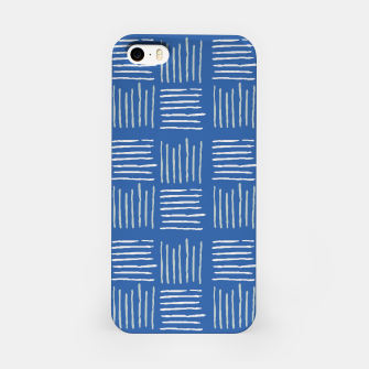 Thumbnail image of Geometrical grey lines pattern on blue iPhone Case, Live Heroes