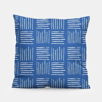 Thumbnail image of Geometrical grey lines pattern on blue Pillow, Live Heroes