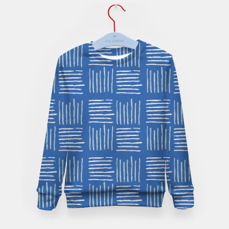 Thumbnail image of Geometrical grey lines pattern on blue Kid's sweater, Live Heroes