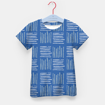 Thumbnail image of Geometrical grey lines pattern on blue Kid's t-shirt, Live Heroes