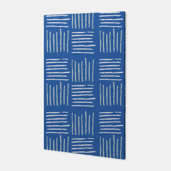 Thumbnail image of Geometrical grey lines pattern on blue Canvas, Live Heroes