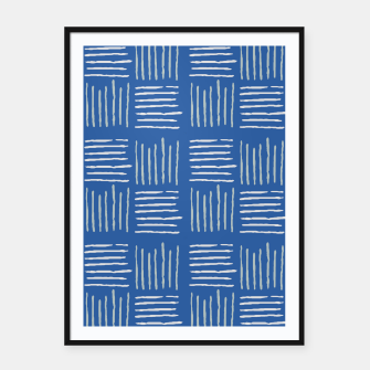 Thumbnail image of Geometrical grey lines pattern on blue Framed poster, Live Heroes