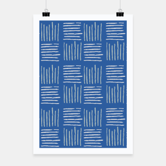 Thumbnail image of Geometrical grey lines pattern on blue Poster, Live Heroes
