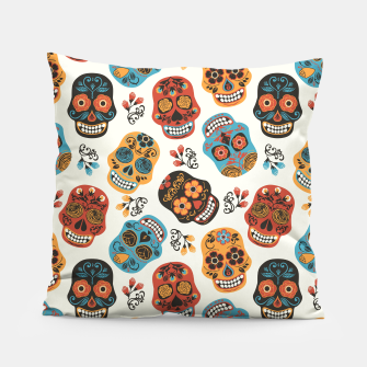 Thumbnail image of Colorful sugar skulls Pillow, Live Heroes