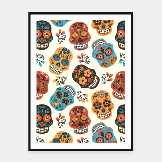 Thumbnail image of Colorful sugar skulls Framed poster, Live Heroes