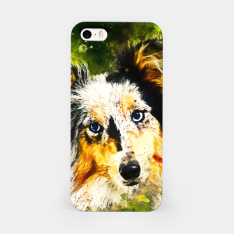 Thumbnail image of border collie dog 5 portrait wsstd iPhone Case, Live Heroes