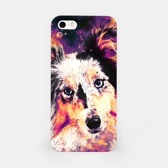 Thumbnail image of border collie dog 5 portrait wslsh iPhone Case, Live Heroes
