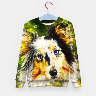 Thumbnail image of border collie dog 5 portrait wsstd Kid's sweater, Live Heroes