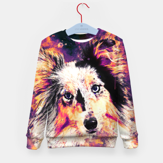 Thumbnail image of border collie dog 5 portrait wslsh Kid's sweater, Live Heroes