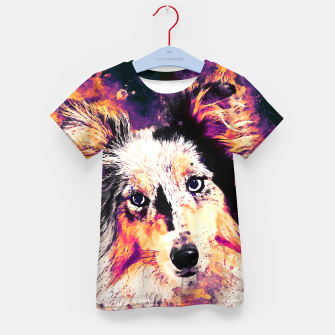 Thumbnail image of border collie dog 5 portrait wslsh Kid's t-shirt, Live Heroes
