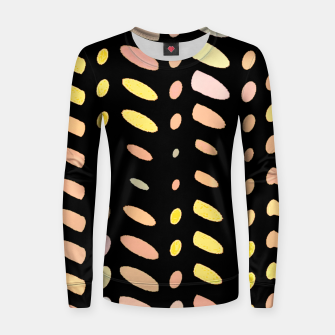 Thumbnail image of pastel abstract geometric pattern black background Women sweater, Live Heroes
