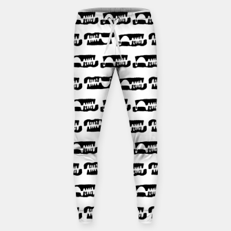 Thumbnail image of Black and White Abstract Ethnic Print Pattern Sweatpants, Live Heroes