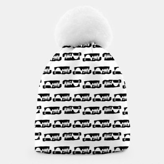 Thumbnail image of Black and White Abstract Ethnic Print Pattern Beanie, Live Heroes