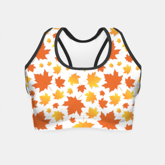 Miniatur Herbst Muster Blätter Orange Crop Top, Live Heroes
