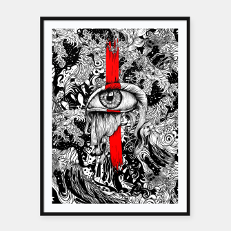 Thumbnail image of Red inked Eye Framed poster, Live Heroes