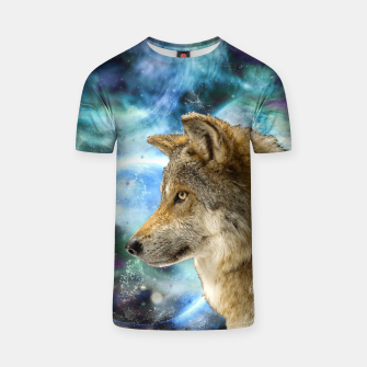 Thumbnail image of Wolf and Planets T-shirt, Live Heroes