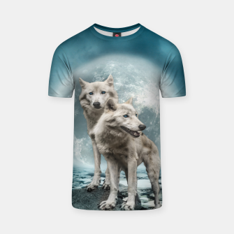 Thumbnail image of Wolves and Moon T-shirt, Live Heroes
