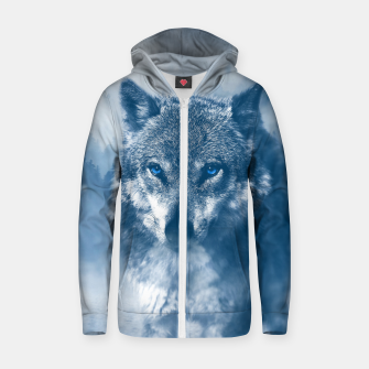 Miniatur Wolf and Snow Zip up hoodie, Live Heroes