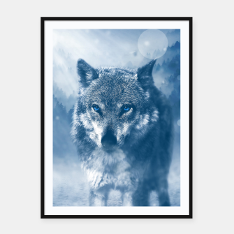 Miniatur Wolf and Snow Framed poster, Live Heroes