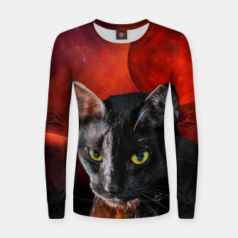 Thumbnail image of Black Cat and Planets Women sweater, Live Heroes