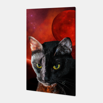 Miniatur Black Cat and Planets Canvas, Live Heroes