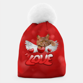 Thumbnail image of Cat Love and Hearts Beanie, Live Heroes