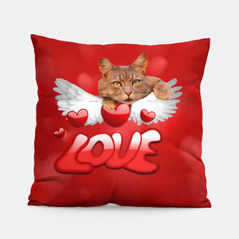 Thumbnail image of Cat Love and Hearts Pillow, Live Heroes