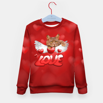 Thumbnail image of Cat Love and Hearts Kid's sweater, Live Heroes