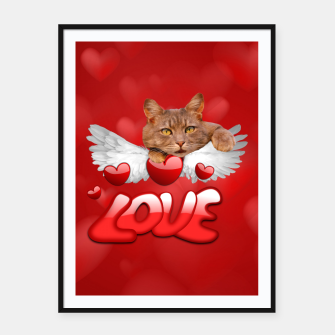 Thumbnail image of Cat Love and Hearts Framed poster, Live Heroes