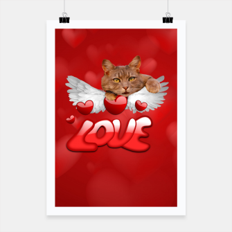 Thumbnail image of Cat Love and Hearts Poster, Live Heroes