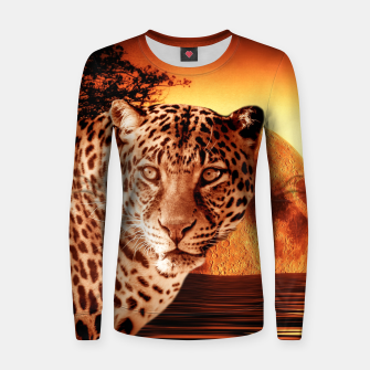 Thumbnail image of Leopard and Red Moon Women sweater, Live Heroes