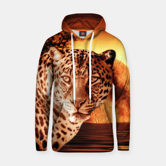 Thumbnail image of Leopard and Red Moon Hoodie, Live Heroes