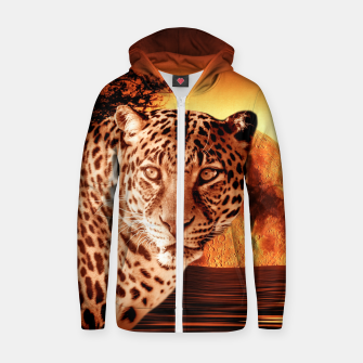 Thumbnail image of Leopard and Red Moon Zip up hoodie, Live Heroes