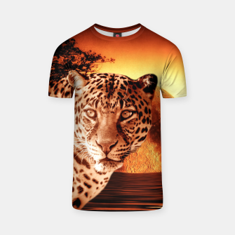 Thumbnail image of Leopard and Red Moon T-shirt, Live Heroes
