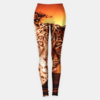 Thumbnail image of Leopard and Red Moon Leggings, Live Heroes