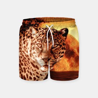 Thumbnail image of Leopard and Red Moon Swim Shorts, Live Heroes