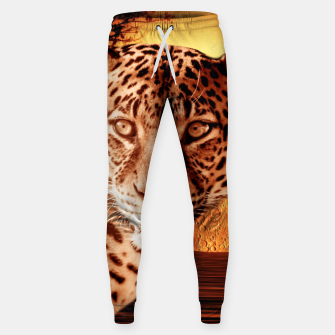 Thumbnail image of Leopard and Red Moon Sweatpants, Live Heroes