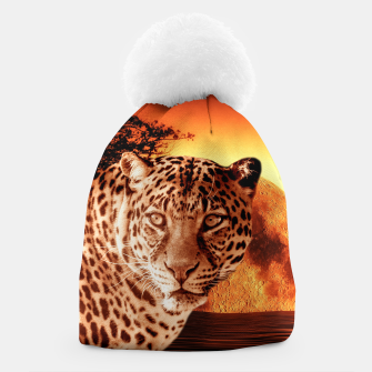 Thumbnail image of Leopard and Red Moon Beanie, Live Heroes